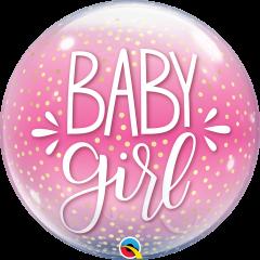 Bubble Baby Girl Pink & Confetti Dots pvc balon