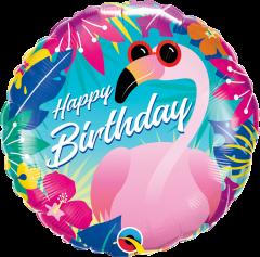 Standard Bday Tropical Flamingo folija balon