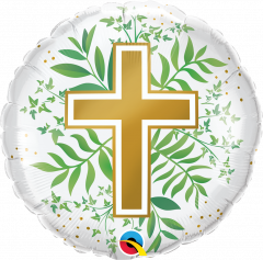 Standard Golden Cross & Greenery folija balon