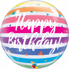 Bubble Bday Bright Rainbow Stripes pvc balon