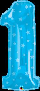 Folija balon številka 1 Blue Stars