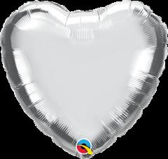 Mini srce folija balon na palčki 22,5 cm - Silver