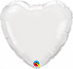 Mini srce folija balon na palčki 10 cm - White