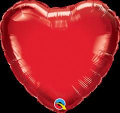 Mini srce folija balon na palčki 10 cm - Ruby Red