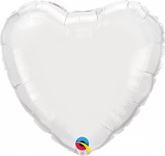 Mini srce folija balon na palčki 22,5 cm - White