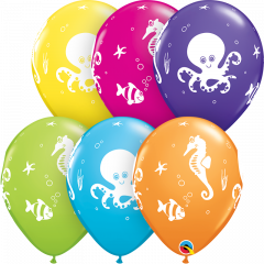 Lateks baloni 28cm Fun Sea Creatures Tropical Ast