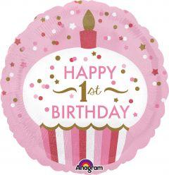 Standard 1st Birthday Cupcake Girl folija balon