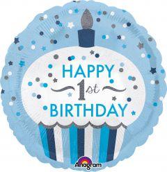 Standard 1st Birthday Cupcake Boy folija balon