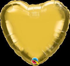 Mini srce folija balon na palčki 22,5 cm - Gold