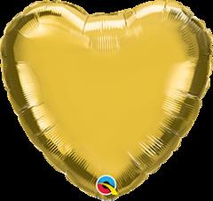 Mini srce folija balon na palčki 10 cm - Gold