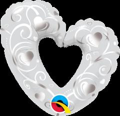 Mini Hearts&Filigree Pearl White folija balon na palčki