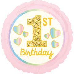 Standard Girl 1st Birthday Pink & Gold folija balon