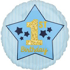 Standard Boy 1st Birthday Blue & Gold folija balon