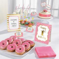 1st Birthday Pink & Gold set za dekoracijo