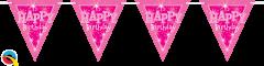 Zastavice Happy Bday Pink Sparkle 3,6m (16 zastavic)
