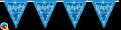 Zastavice Happy Bday Blue Sparkle 3,6m (16 zastavic)