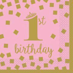 1st Birthday Pink & Gold serviete 25x25 cm