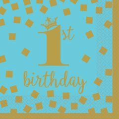 1st Birthday Blue & Gold serviete 25x25 cm