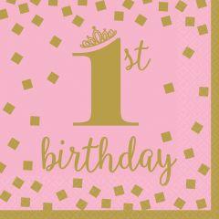 1st Birthday Pink & Gold serviete 33x33 cm