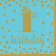 1st Birthday Blue & Gold serviete 33x33 cm