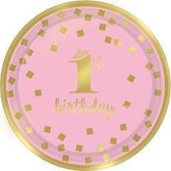 1st Birthday Pink & Gold krožniki 18 cm