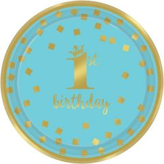 1st Birthday Blue & Gold krožniki 18 cm