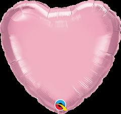 Mini srce folija balon na palčki 22,5 cm - Pearl Pink