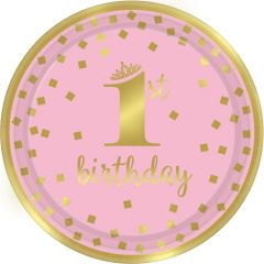 1st Birthday Pink & Gold krožniki 23 cm