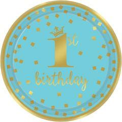 1st Birthday Blue & Gold krožniki 23 cm