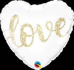 Standard Love Glitter Gold folija balon