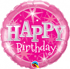Mini Bday Pink Sparkle folija balon na palčki