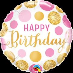 Mini Bday Pink&Gold Dots folija balon na palčki