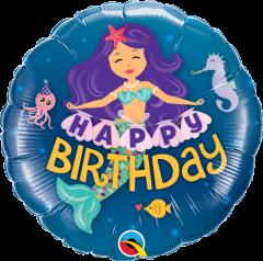 Mini Happy Bday Mermaid folija balon na palčki