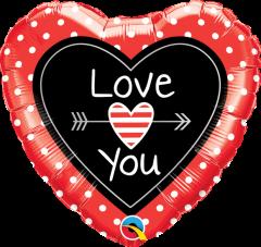Mini Love You Dots&Arrows folija balon na palčki