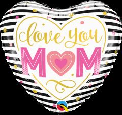 Mini Love you Mum Stripes folija balon na palčki