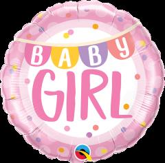 Standard Baby Girl Banner & Dots folija balon