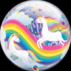 Bubble Bday Rainbow Unicorns pvc balon