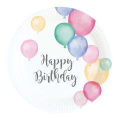 Happy Birthday Pastel krožniki 18 cm
