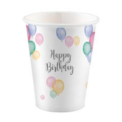 Happy Birthday Pastel kozarčki 250ml