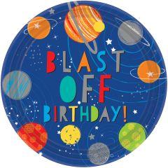 Blast off Birthday krožniki 23 cm