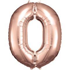 Folija balon številka 0 Rose Gold