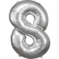Folija balon številka 8 Silver