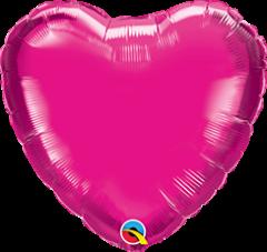 Mini srce folija balon na palčki 10 cm - Magenta
