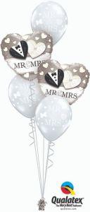 Helijeva balonska dekoracija Mr. & Mrs.