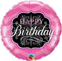 Standard Bday Pink & Black folija balona